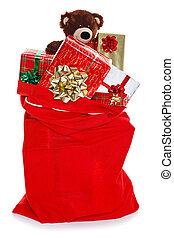 Christmas sack full of presents - Red Christmas sack full of...