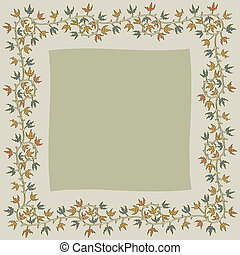 Christmas holly frame on gray background