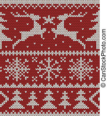 Christmas knitted pattern - White christmas ornament on red...