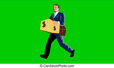 Businessman Banker Carry Money - 2d video footage animation...