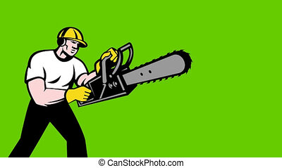 lumberjack arborist with chainsaw - 2d video footage...