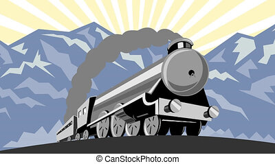 steam train locomotive travelling - 2d video footage...