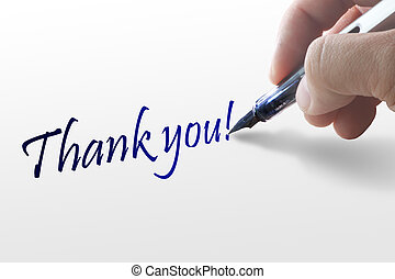 Hand writes the word thank you