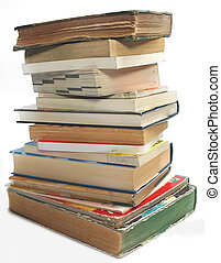 A stack of old vintage and modern books