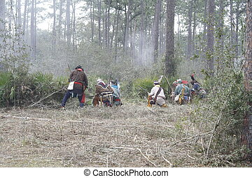 The Battle - Seminole Indian Battle at the Dade Battlefield...
