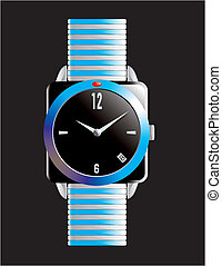 Blue and black designer watch