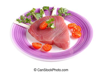 raw tuna steak, isolated on white background