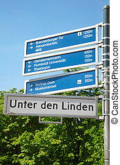 Berlin, touristic road sign - Unter den Linden, Berlin,...