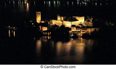 San Giulio Isle by Night, Orta lake, Italy