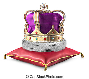 Crown and Pillow - Illustration of a crown sitting on a red...