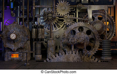 Steam Gears - Image of large steam gears inside a factory.