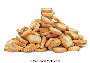 mini toasts - a pile of mini toasts on a white background