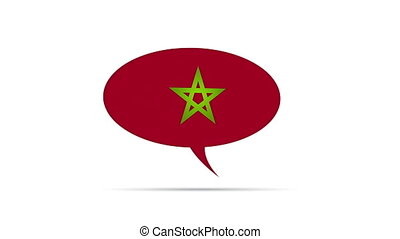 Morocco Flag Speech Bubble - Spinning Morocco Flag Speech...