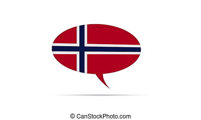 Norway Flag Speech Bubble - Spinning Norway Flag Speech...