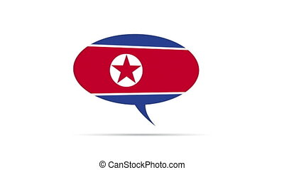 North Korea Flag Speech Bubble - Spinning North Korea Flag...