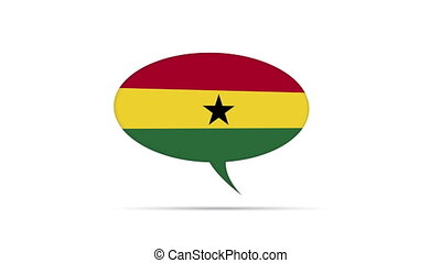 Ghana Flag Speech Bubble - Spinning Ghana Flag Speech Bubble