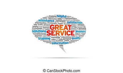 Great Service - Spinning Great Service Speech Bubble
