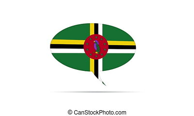 Dominica Flag Speech Bubble - Spinning Dominica Flag Speech...