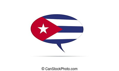 Cuba Flag Speech Bubble - Spinning Cuba Flag Speech Bubble