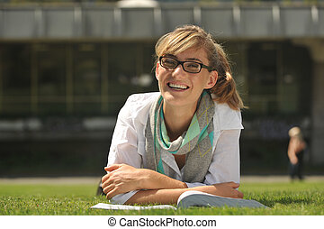 Young beautiful female student