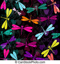Seamless dark colorful pattern - Seamless dark pattern with...