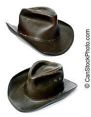 aventureros, áspero, viejo, cuero, vaquero, sombrero