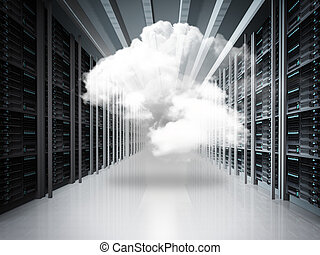 cloud network concept - cloud network and server room as...