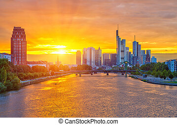 Frankfurt at sunset - Frankfurt am Mine at sunset, Germany