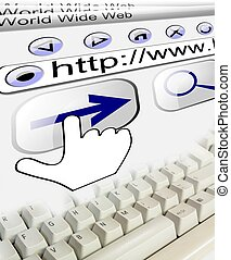 Internet connection url with keyboard, technology background