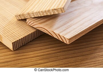 pine wood planks on table background,shallow depth of field