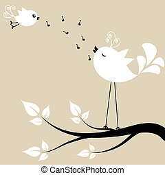 Two white birds on a branch