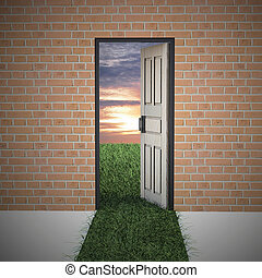 Open door to new life from brick wall.