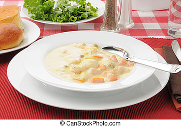 Chicken dumpling soup - A bowl of hearty chicken dumpling...