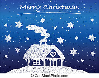 Christmas cottage with snow at night - hand drawn...
