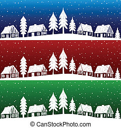 Christmas village with snow seamless pattern - hand drawn...