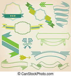 Set of Colorful Ribbons for your Text, Design, Wedding, Invitation, Card - in vector