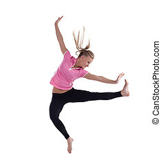 young woman in high jump isolated