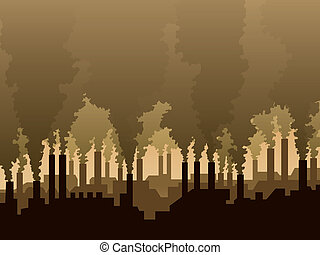 Air pollution - Industrial scenery with a silhouette of a...