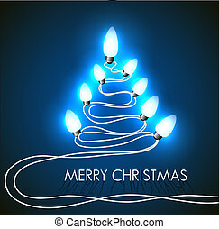 Vector background with christmas tree and lights on blue