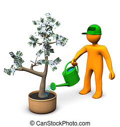 Euro Money Plant - A gardener watering a plant with euro...