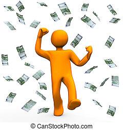 Money Winner - Orange cartoon character has win money and is...