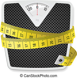 Weights and tape measure. Illustration on white background