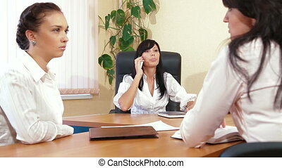 Casual Business Meeting - Business Women Working Together in...