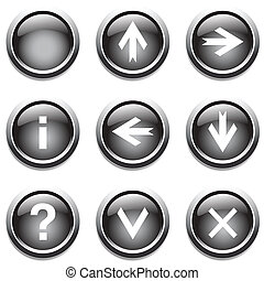 Black buttons with signs. Vector art.