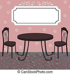 cafe - vector illustration of street cafe with signboard