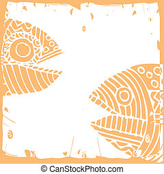 Fishy card - funny fishy card on white background with frame...