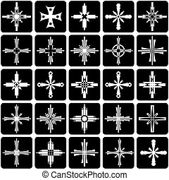 Crosses set - Abstract icons with crosses design Vector art...