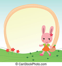 vector frame with a cute rabbit