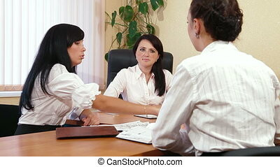 Women Discussing Business Issues - Young Women Discussing...