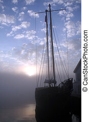 Tall Ship at Sunrise 2 - Portrait of a tall ship at sunrise